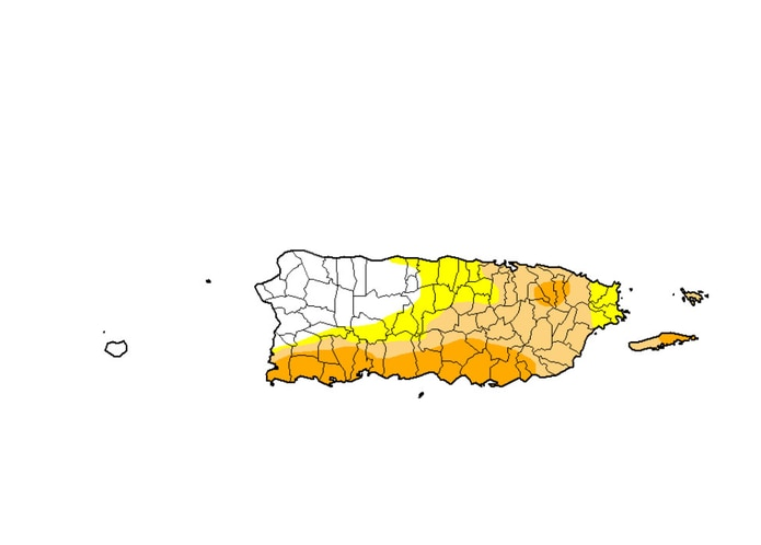 Gran parte de Puerto Rico se encuentra anormalemente seco.