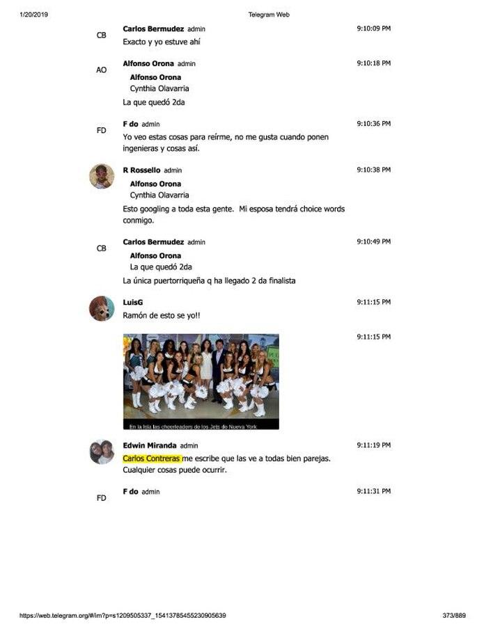 """En la página 373 de las 889 del chat de Telegram, el publicista Edwin Miranda indica de manera burlona: """"Carlos Contreras me escribe que las ve a todas bien parejas…"""". (Captura)"""