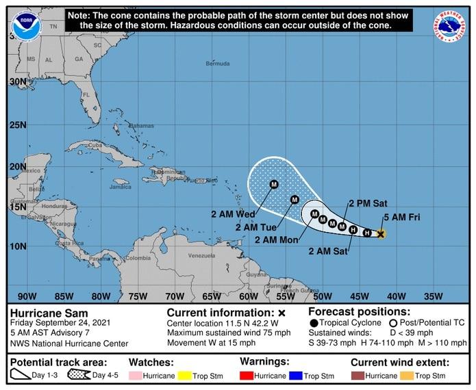 Pronóstico del huracán Sam emitido a las 5:00 de la mañana del 24 de septiembre de 2021.
