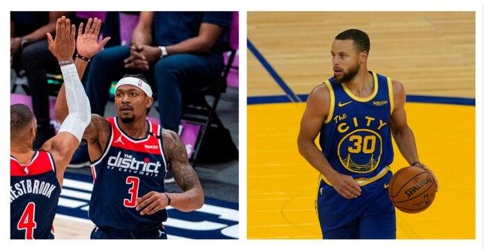 A la izquierda, Bradley Beal,  de los Wizards de Washington. A la derecha, el líder actual de anotaciones Stephen Curry, de los Warriors de Golden State.