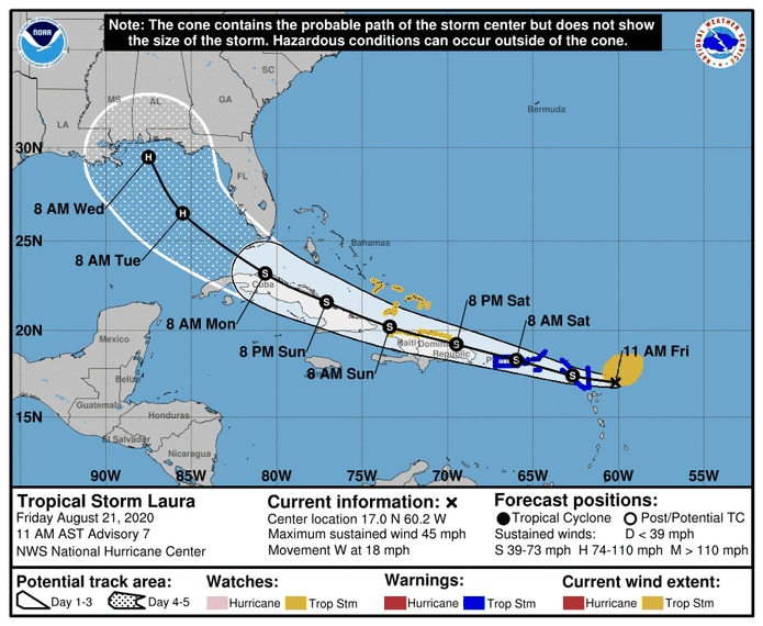 Official track record of Tropical Storm Laura.