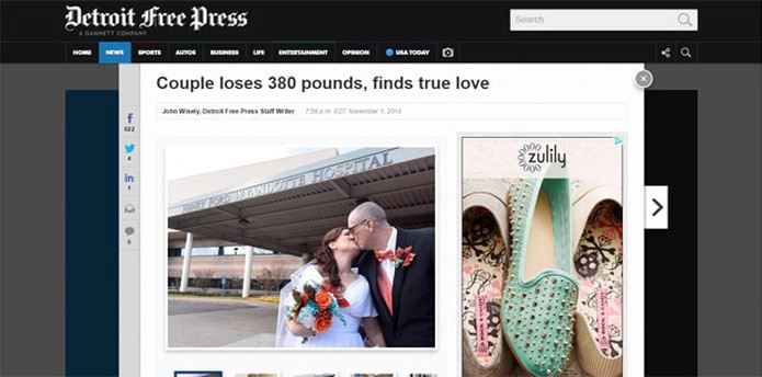La boda fue oficiada por su instructor de yoga en el salón donde se conocieron y en la fecha exacta tres años después de su primera cita. (www.freep.com)