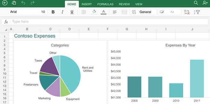 Imagen de la versión iPad del app de Excel. (AP)