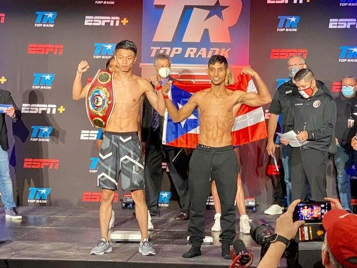 """Junto Nakatani arriesgará el cinturón de la Organización Mundial de Boxeo ante el boricua Ángel """"Tito"""" Acosta."""