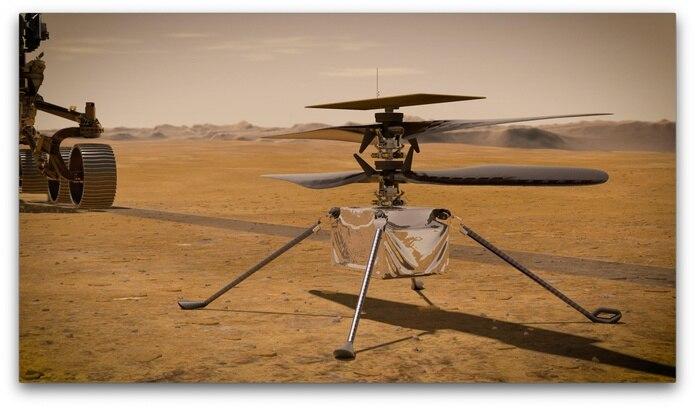 El helicóptero está específicamente diseñado para volar sobre el planeta rojo y se cree que puede ayudar a los científicos proporcionando una nueva perspectiva de su geología.
