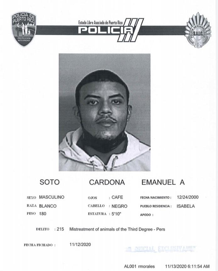 Ficha policíaca de Emanuel A. Soto Cardona.