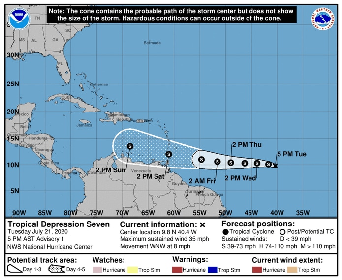 Trayectoria de la depresión tropical 7.