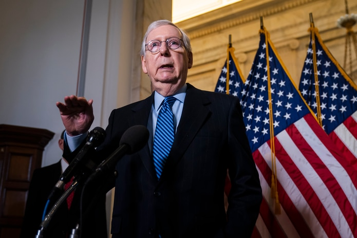 En la imagen, el líder de la minoría republicana en el Senado de EE.UU., Mitch McConnell.