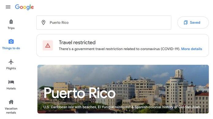 Búsqueda de Puerto Rico en la página web google.com/travel.