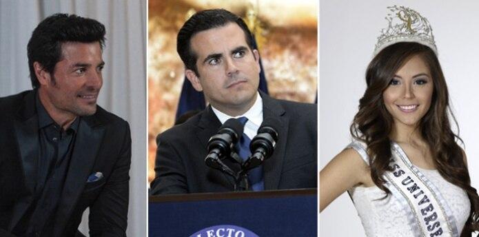 El cantante Chayanne, el gobernador electo Ricardo Rosselló y Brenda Azaria, Miss Universe Puerto Rico. (Archivo)