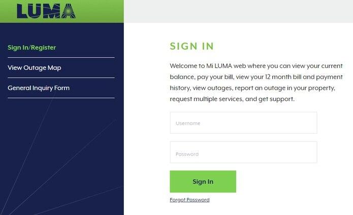 Captura de la página web miluma.lumapr.com/login.