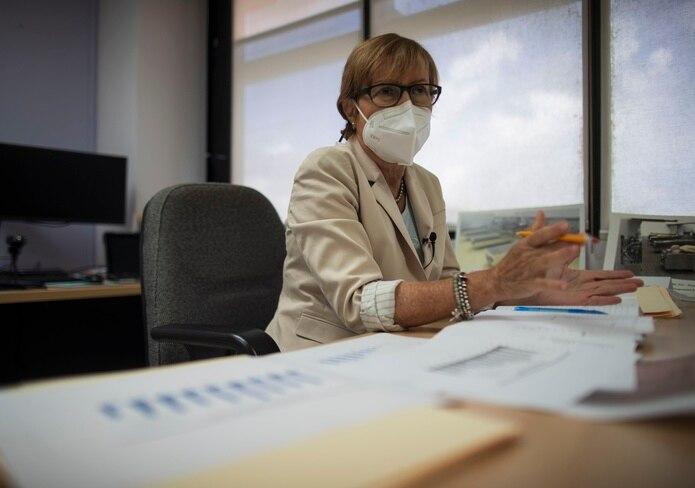 María Conte en el Instituto de Ciencias Forenses sobre muertes relacionadas con el Covid 19. (Teresa Canino Rivera/ teresa.canino@gfrmedia.com)