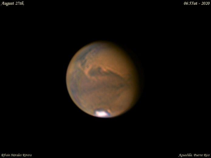 Marte captado desde Puerto Rico por :  Efrain Morales de la Sociedad de Astronomia del Caribe.