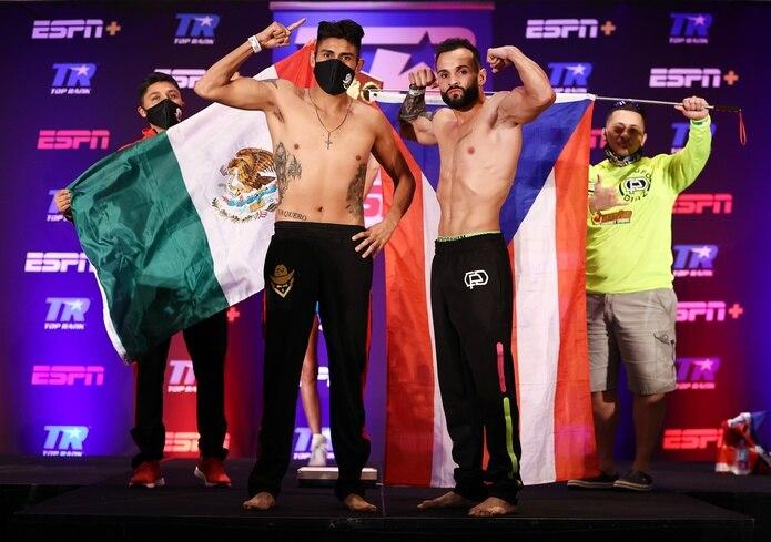 Emanuel Navarrete (izquierda) arriesgará por primera vez el cinturón pluma de la OMB ante Christopher Díaz.