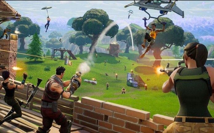 Una escena del videojuego Fortnite, versión Battle Royale.