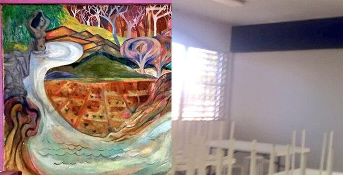 A la izquierda, parte del mural y a la derecha la pintura que lo cubrió. (Suministrada)