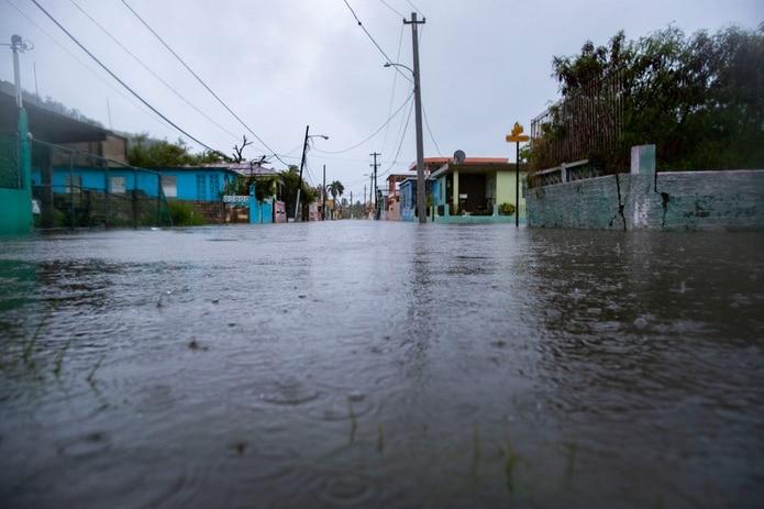 Vista de las inundaciones en La Esperanza, una comunidad afectada por los terremotos en Guánica.