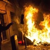Violenta protesta en Madrid