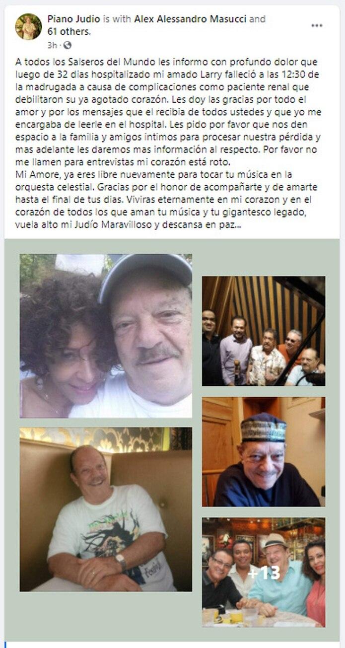 Larry harlow falleció en horas de esta madrugada, según informó su viuda en las redes sociales. (Facebook)