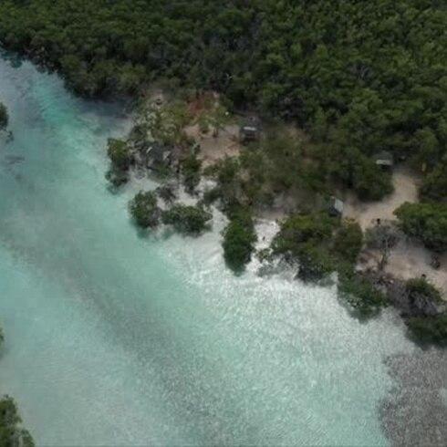 Imágenes aéreas del cayo Gilligan's tras hundimiento de tierra