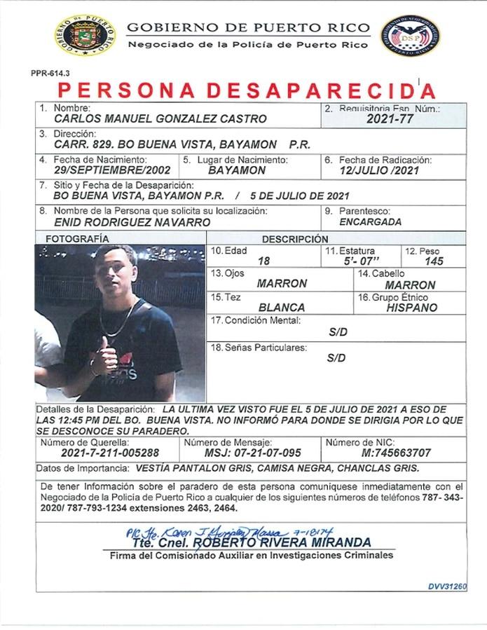 El joven fue visto por última vez el 5 de julio cuando salió de su residencia en el barrio Buena Vista, en Bayamón. Si lo ha visto llame al (787)-343-2020.