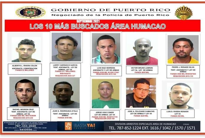 Los 10 más buscados de la zona policíaca de Humacao.