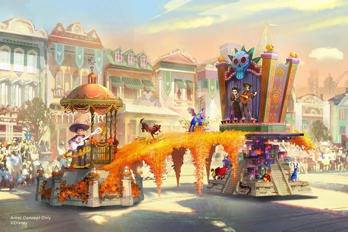"""La carroza de """"Coco"""" tendrá un puente de más de 30,000 caléndulas."""