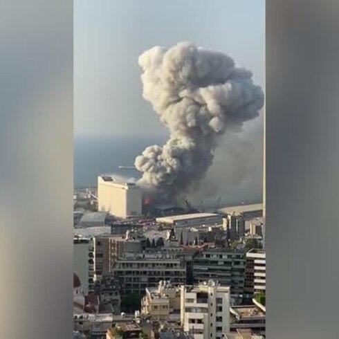 Graban escalofriante explosión en Beirut