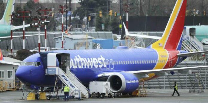 Boeing 737 Max de Southwest Airlines en el Aerpuerto Municipal Renton, en Washington. (AP / Ted S. Warren)
