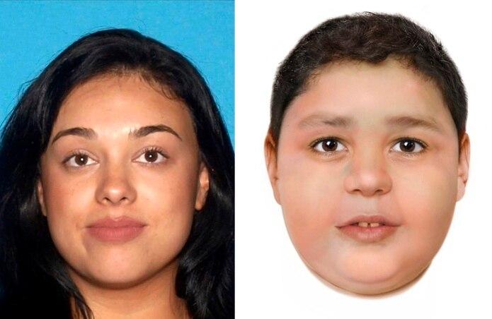 Composición de dos fotos divulgadas por el Departamento de Policía Metropolitana de Las Vegas, donde aparece Samantha Moreno Rodríguez y su hijo Liam Husted.