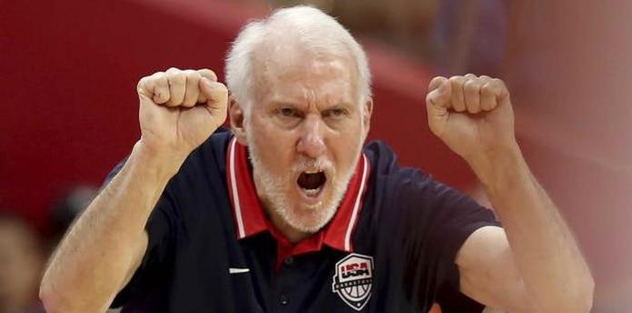 Gregg Popovich, en su primer torneo al mando de la Selección de Estados Unidos, ha visto caer una racha de 58 victorias que tenía su país en torneos internacionales y que databa desde el 2006. (AP)