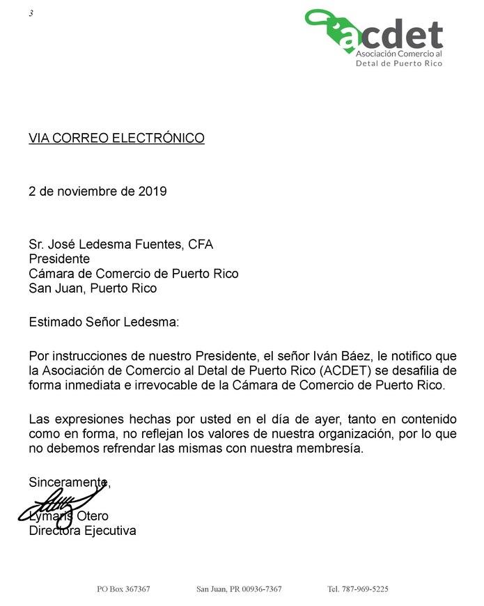 Carta de la Asociación de Comercio Al Detal enviada a la Cámara de Comercio de Puerto Rico. (Suministrada)