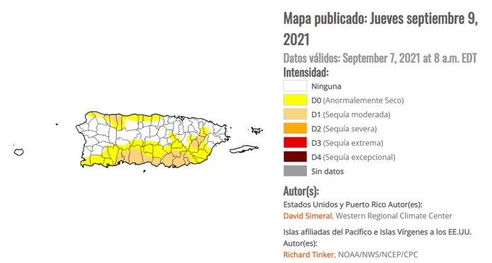 Mapa de Puerto Rico del Monitor de Sequía de los Estados Unidos.
