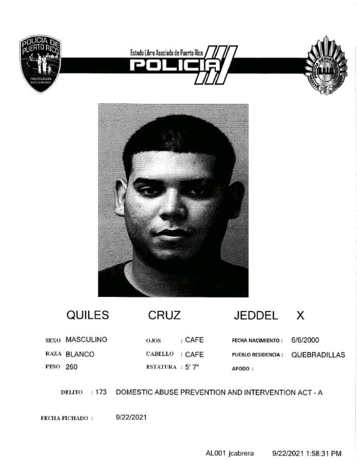 Jeddel X. Quiles Cruz, fue acusado por violencia doméstica.