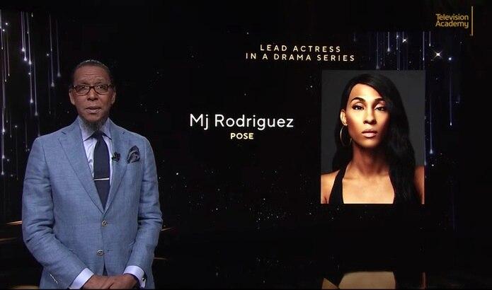 """Ron Cephas Jones anuncia a Mj Rodríguez como nominada a mejor actriz en una serie de drama por su trabajo en """"Pose""""."""
