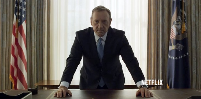 "Kevin Spacey interpreta al presidente ""Frank Underwood"" en la serie ""House of Cards""."