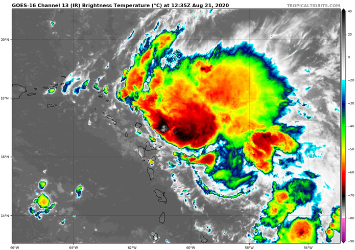 Imagen de satélite de la tormenta tropical Laura.