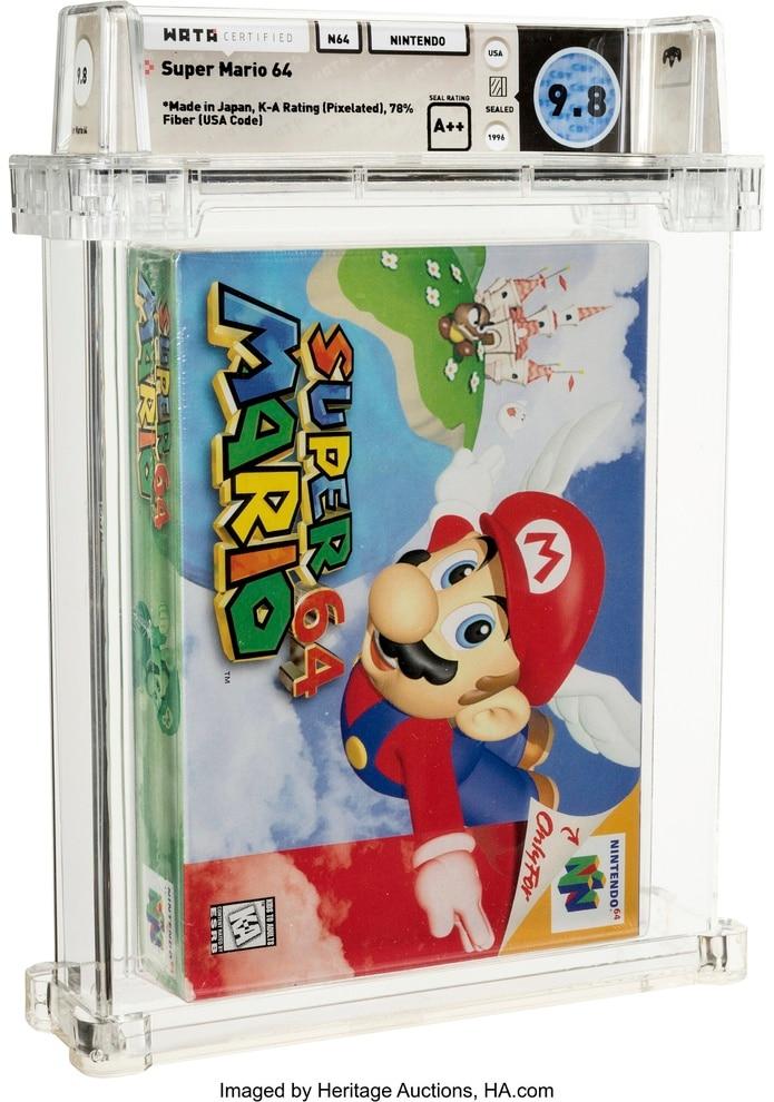 En esta imagen cortesía de Heritage Auctions se muestra una copia sin abrir del juego Super Mario 64 de Nintendo, la cual fue subastada en $1.56 millones.