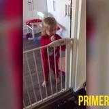 Esta bebita tiene tremendo método para escaparse