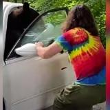 Joven expulsa a un oso de su auto