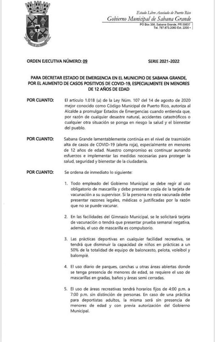Orden ejecutiva de Sabana Grande.