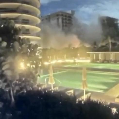 Aquí el instante en que colapsó un condominio en Miami