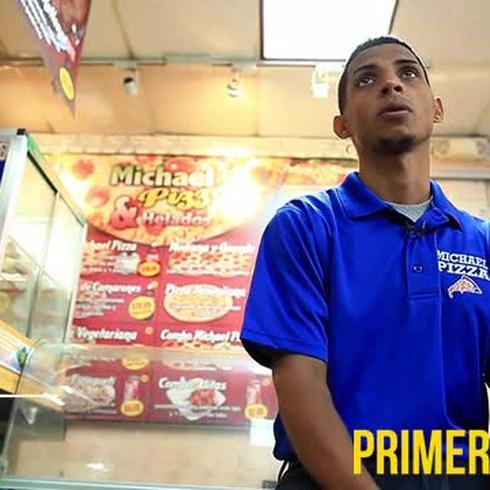 Ángel Acosta: boxeador y delivery boy de pizza
