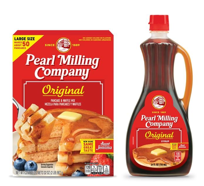 En esta imagen cortesía de PepsiCo, Inc., se ve la mezcla para panqueques y el jarabe Pearl Milling Company de Quaker Oats, conocido previmanete como la marca de Aunt Jemima.