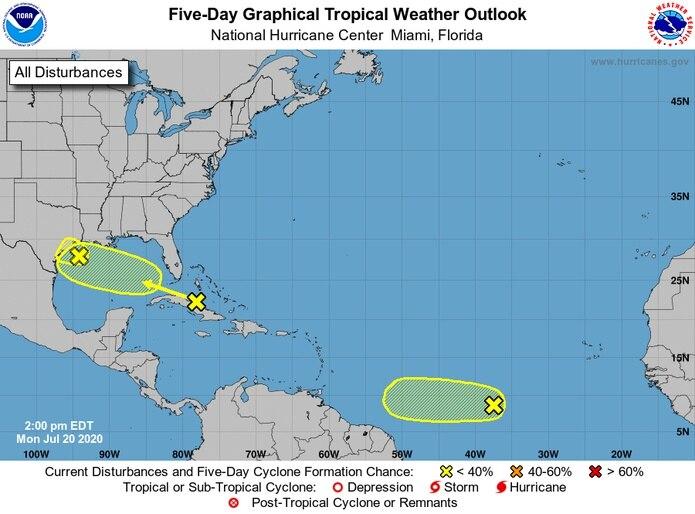 El Centro Nacional de Huracanes en Miami vigila tres áreas con potencial de convertirse en un sistema tropical organizado.