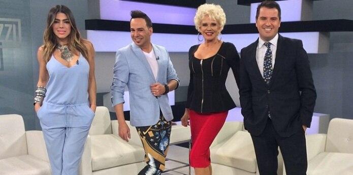 Danella Urbay, Alex Otaola, Charytín Goyco, y Oscar Pyzyk son los presentadores de Paparazzi TV. (Archivo)